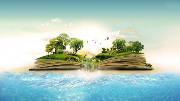 Book-Island-Waterfall-Art-HD-Wallpapers