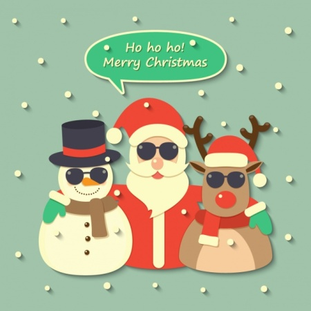 santa-claus-a-reindeer-and-a-snowman-wearing-sunglasses_1214-185